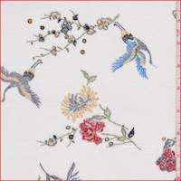 Off White Floral Crane Rayon Georgette