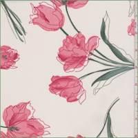 Beige/Salmon Tulip Polyester Chiffon