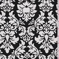 Black/White Damask Print Cotton Poplin