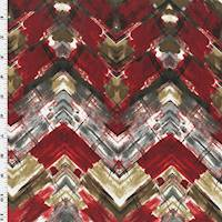 *1 YD PC--Red/Gray/Multi Abstract Chevron Print Peachskin