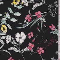 *5 YD PC--Black Multi Garden Floral ITY Jersey Knit