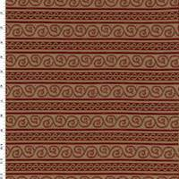 *3 YD PC--Red/Beige Swirl Stripe Jacquard Home Decorating Fabric