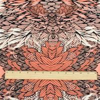 *3 YD PC--Peach Orange/Black/Ivory Feather Print Peachskin