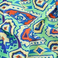 *4 YD PC--Mint Green/Orange/Multi Aztec Print Challis