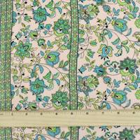 *4 YD PC--Peach/Green/Multi Rayon Floral Print Challis
