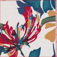 *2 YD PC--White Multi Tropical Floral Lawn