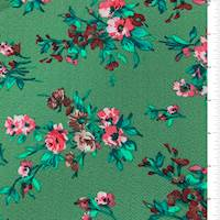 *4 1/4 YD PC--Green Floral Textured Liverpool Knit