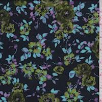 *2 1/2 YD PC--Black Rose Floral Rayon Challis