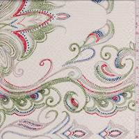 Cream Dotted Scroll Hammered Silk