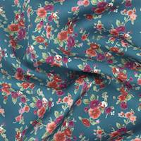 *1 1/2 YD PC--Deep Teal/Red/Multi Floral Print Charmeuse