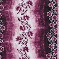 Mulberry Floral Stripe Rayon Challis