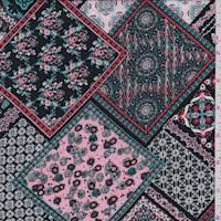 Rose/Aqua/Black Deco Tile Rayon Challis