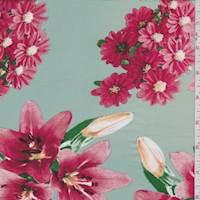 Pale Jade Floral Bouquet Rayon Challis