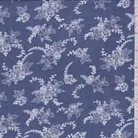 Vintage Blue Floral Cluster Rayon Challis