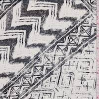 Chalk/Black Faded Patdhwork Print Silk Chiffon