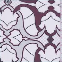 Maroon/Talc Baroque Print Silk Chiffon