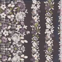 Black/White Floral Chain Print Silk Chiffon