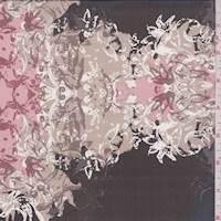 Black/Cocoa Floral Fringe Silk Chiffon
