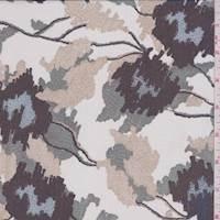 White/Tan/Jade Ikat Floral Silk Chiffon