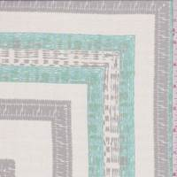 Bisque/Aqua/Grey Square Silk Chiffon