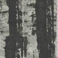 Forest Green/Stone Brush Stroke Stripe Silk Chiffon