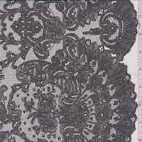 Ecru/Slate Lace Print Silk Chiffon