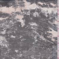 Pearl Beige/Onyx Mottled Print Silk Chiffon