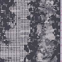Charcoal/Pearl Wicker Stripe Silk Chiffon
