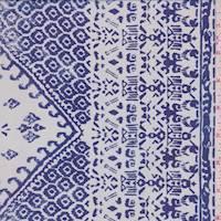 White/Sapphire Inca Block Silk Chiffon