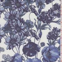 White/Sky/Navy Floral Crinkled Silk Chiffon