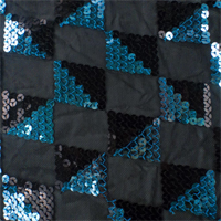 Black/Turquoise Checkered Sequin Mesh
