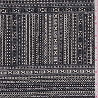 *1 YD PC--ITY Black/Ivory Tribal Jersey Knit