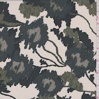 Pearl Beige Multi Ikat Floral Silk Crepe de Chine