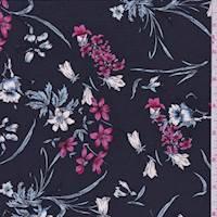 Dark Navy Floral Silk Crepe de Chine