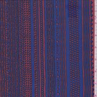 Dark Orange/Cobalt Tribal Stripe Silk Crepe de Chine