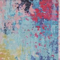 Turquoise Multi Tapestry Print Silk Crepe de Chine