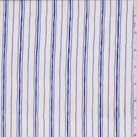 Talc/Sapphire Double Stripe Silk Crepe de Chine