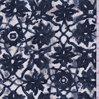 Dark Slate Blue Lattice Medallion Silk Crepe de Chine