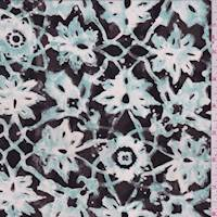 Turquoise Lattice Medallion Silk Crepe de Chine