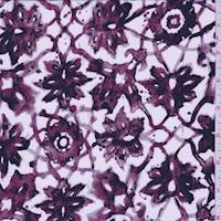 Magenta Lattice Medallion Silk Crepe de Chine