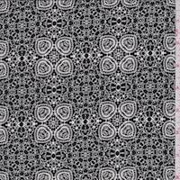 Black/White Floral Medallion Silk Crepe de Chine