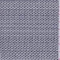 Ivory/Navy Hash Stripe Silk Crepe de Chine