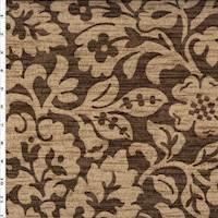 *6 YD PC - Brown/Beige P/Kaufmann Floral Leaf Print Linen Canvas