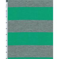 *3 1/8 YD PC--Green/Gray Stripe Jersey Knit