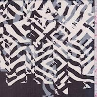 *1 YD PC--Black/White Abstract Silk Chiffon