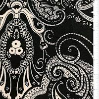 *2 YD PC--Black Paisley Textured Liverpool Knit