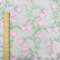 *1 YD PC--Pink/Green/White Floral Embroidered Mesh