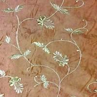 * 3 YD PC -- Bronze Orange Vine Embroidered  Taffeta Home Decorating Fabric