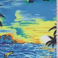 *3 1/4 YD PC--Ocean Blue Multi Aloha Print Fine Line twill
