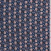 *2 3/4 YD PC--Navy Ditsy Floral Rayon Challis